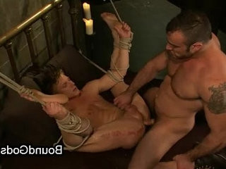 Bound gay giving blowjob to his partner and gets fucked from him in bed | bed gay  blowjobs  fucking  gays tube  getting  hardcore