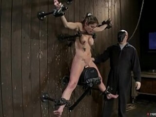 Shackled busty slave squirts on Sybian | slave