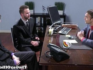 Officesex hunks threeway fun after interview | fun film  hunks best  threesome  threeway