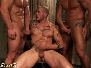 Muscly hung hunk trio cum | cums   hung hq   hunks best   threesome   trio man